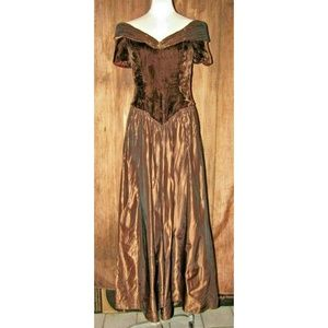 Dresses & Skirts - Vintage 80's Off-Shoulder Brown Velvet Prom Dress